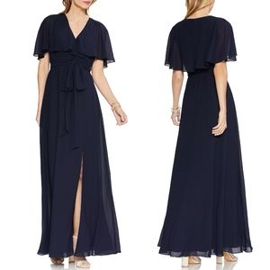 Vince Camuto NAVY V-Neck Faux Wrap Chiffon GOWN 16